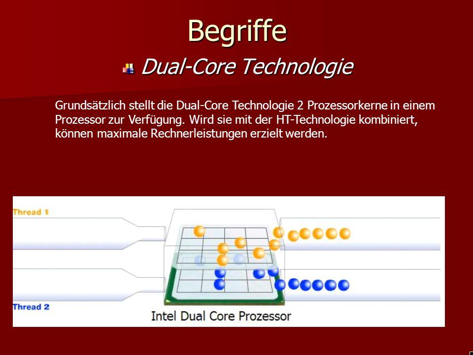 BegriffeDual-Core Technologie Grundsätzlich stellt die Dual-Core Technologie 2 Prozessorkerne in einem Prozessor zur Verfügung.
