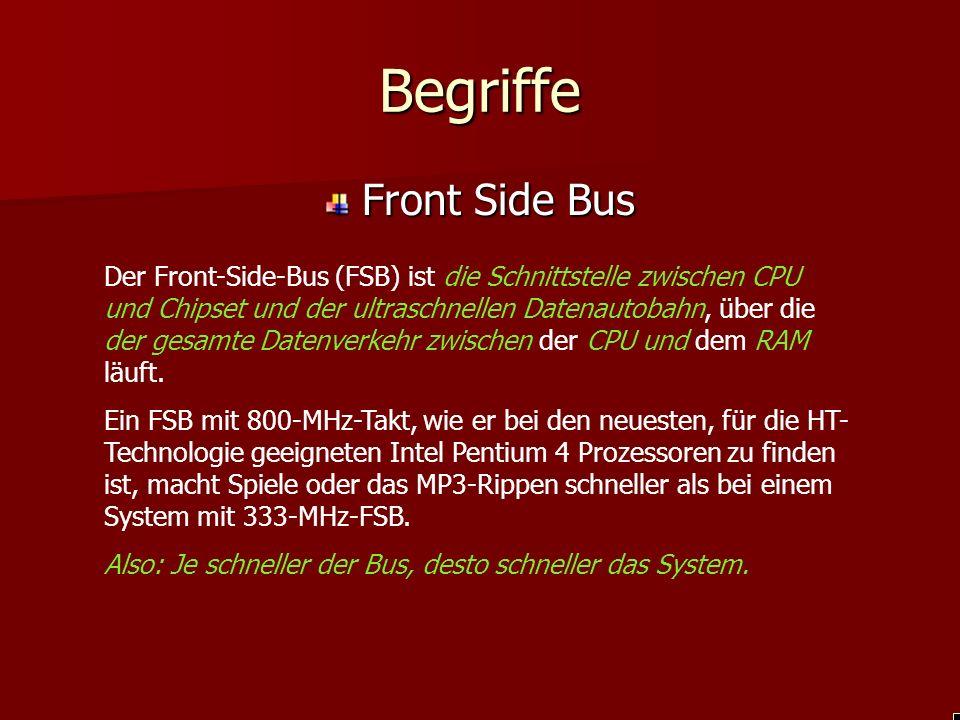 Begriffe Front Side Bus Der Front-Side-Bus (FSB) ist die Schnittstelle zwischen CPU und Chipset und der ultraschnellen Datenautobahn, über die der gesamte Datenverkehr zwischen der CPU und dem RAM läuft.