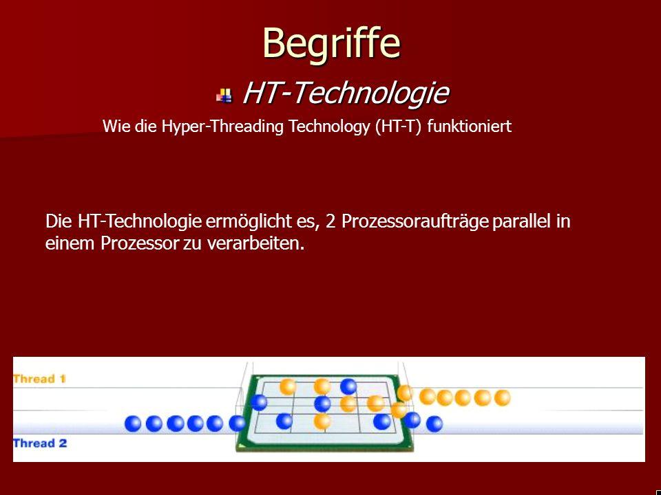 Begriffe HT-Technologie Wie die Hyper-Threading Technology (HT-T) funktioniert Die HT-Technologie ermöglicht es, 2 Prozessoraufträge parallel in einem Prozessor zu verarbeiten.