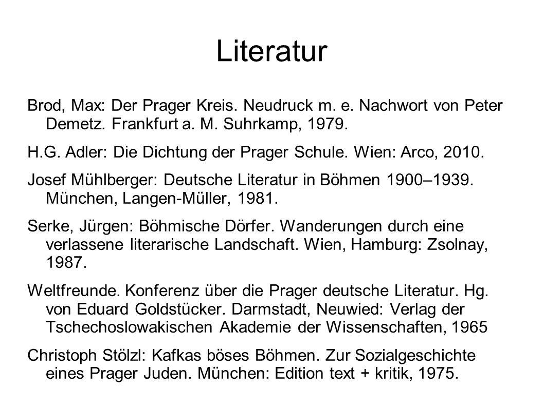 Literatur Brod, Max: Der Prager Kreis. Neudruck m.