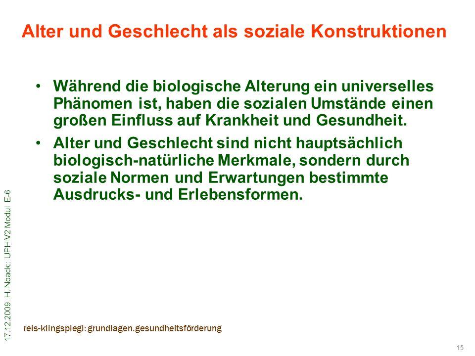 17.12.2009. H. Noack:: UPH V2 Modul E-6 15 reis-klingspiegl: grundlagen.gesundheitsförderung Alter und Geschlecht als soziale Konstruktionen Während d