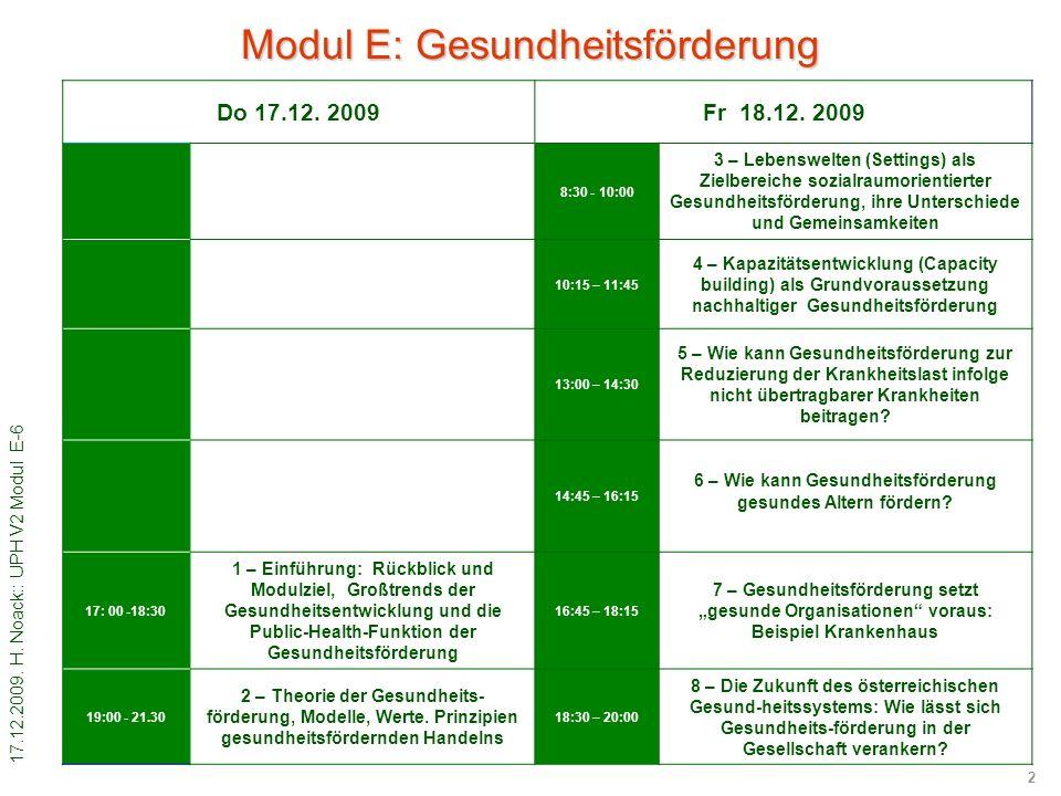 17.12.2009. H. Noack:: UPH V2 Modul E-6 2 Do 17.12. 2009Fr 18.12. 2009 8:30 - 10:00 3 – Lebenswelten (Settings) als Zielbereiche sozialraumorientierte