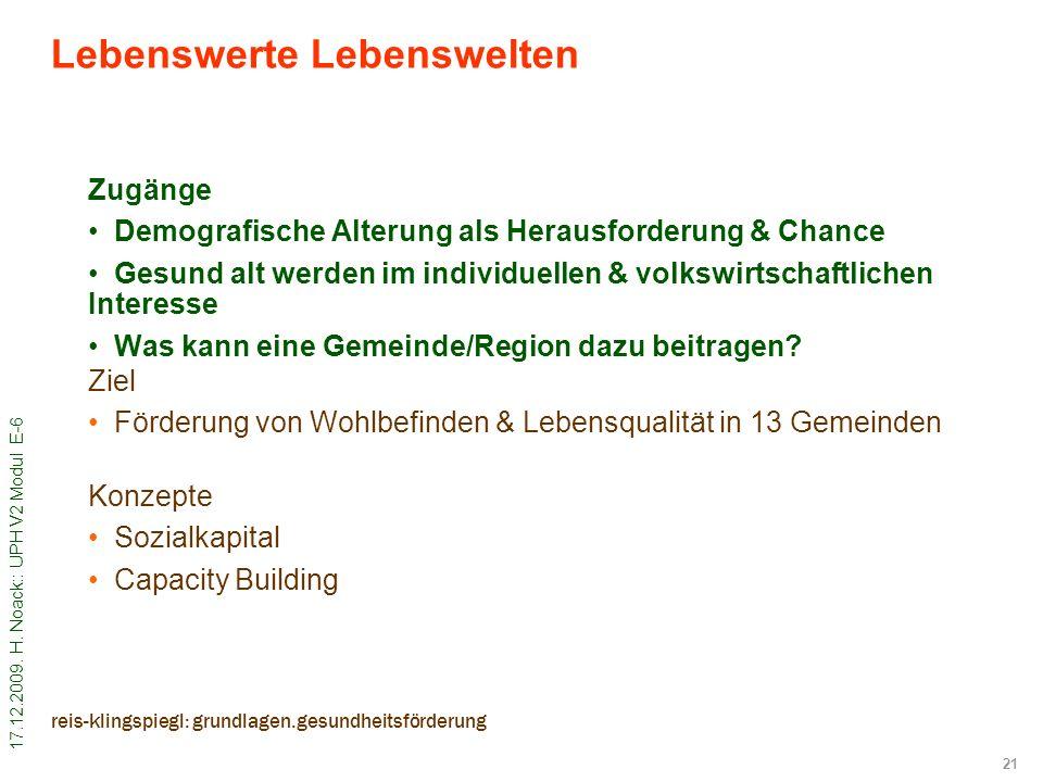 17.12.2009. H. Noack:: UPH V2 Modul E-6 21 reis-klingspiegl: grundlagen.gesundheitsförderung Zugänge Demografische Alterung als Herausforderung & Chan