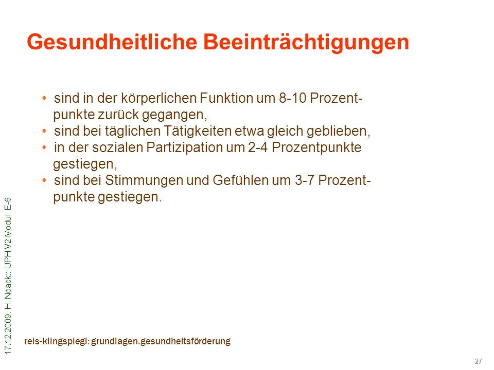 17.12.2009. H. Noack:: UPH V2 Modul E-6 27 reis-klingspiegl: grundlagen.gesundheitsförderung sind in der körperlichen Funktion um 8-10 Prozent- punkte