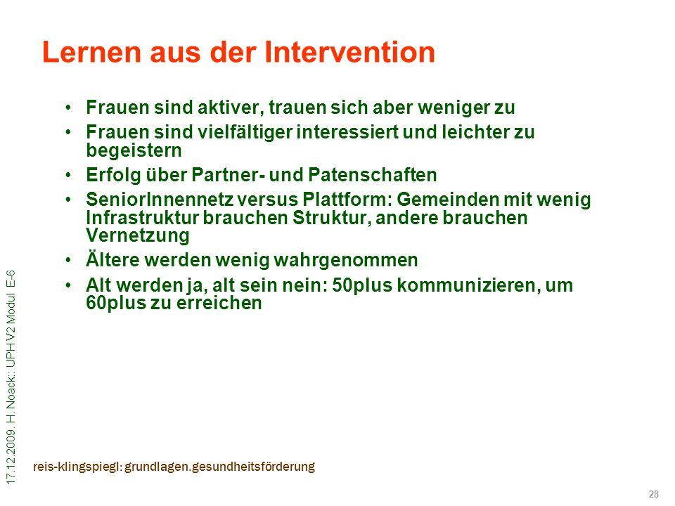 17.12.2009. H. Noack:: UPH V2 Modul E-6 28 reis-klingspiegl: grundlagen.gesundheitsförderung Frauen sind aktiver, trauen sich aber weniger zu Frauen s