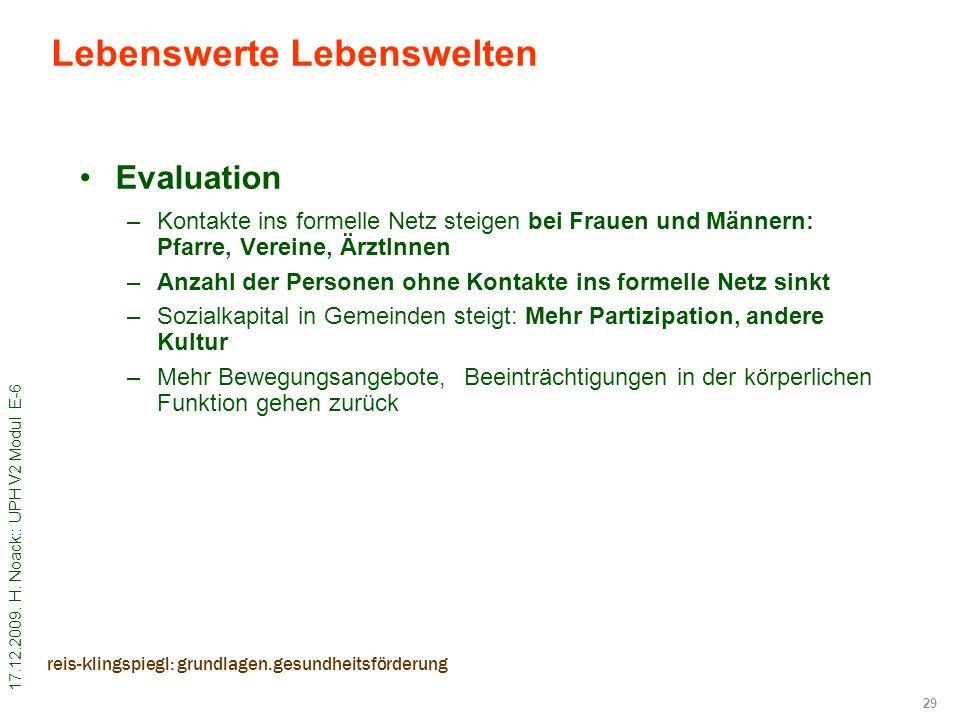 17.12.2009. H. Noack:: UPH V2 Modul E-6 29 reis-klingspiegl: grundlagen.gesundheitsförderung Evaluation –Kontakte ins formelle Netz steigen bei Frauen