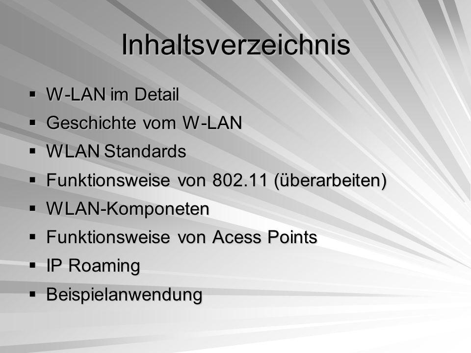 WLAN im Detail  Basiert auf Protokollen  IP Stammprotokoll  Gefolgt von TCP und UDP  Kontrolle der Checksumme  Sender und Empfänger müssen bekannt sein  Gesendete Daten sind fehlerfrei