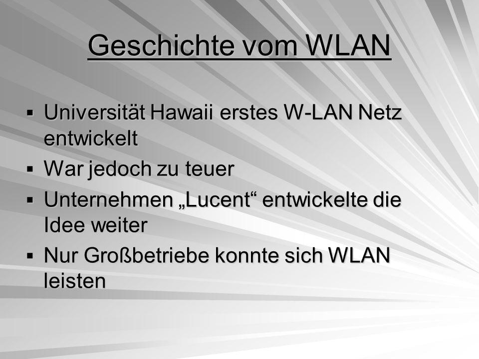WLAN Standards JahrIEEE Bandbreite (Mbit/s) Band (GHz) 1997802.11 1 + 2 2,4ISM 1999802.11a 6 - 54 5UNII 802.11b 5,5 – 11 2,4ISM 2001/02802.11g Bis 54 2,4ISM 2002/03802.11 5UNII