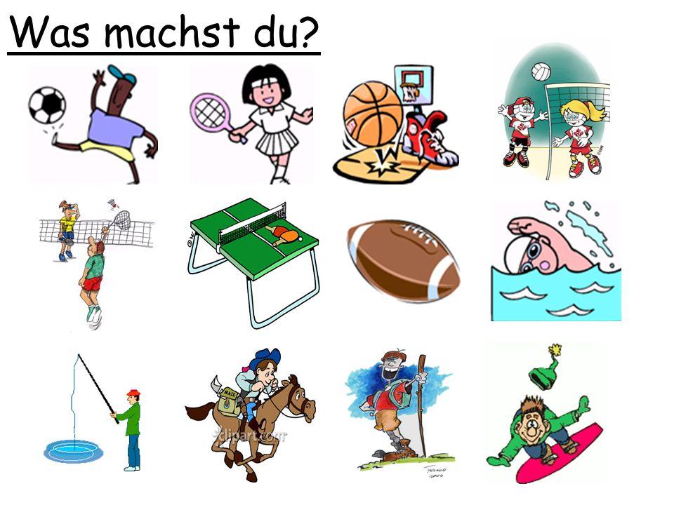 Ich spiele.....Tennis Fußball Basketball Volleyball Federball Tischtennis Rugby Ich gehe........