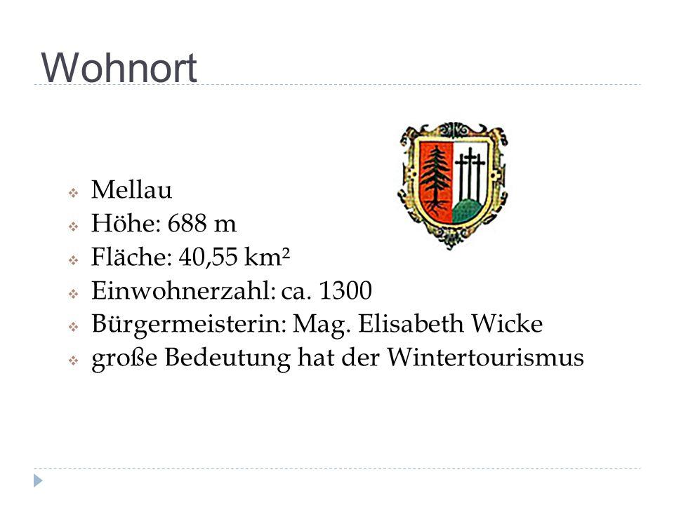 Wohnort  Mellau  Höhe: 688 m  Fläche: 40,55 km²  Einwohnerzahl: ca. 1300  Bürgermeisterin: Mag. Elisabeth Wicke  große Bedeutung hat der Wintert