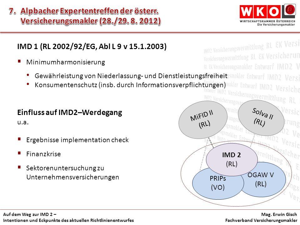 Auf dem Weg zur IMD 2 – Intentionen und Eckpunkte des aktuellen Richtlinienentwurfes Mag. Erwin Gisch Fachverband Versicherungsmakler IMD 1 (RL 2002/9
