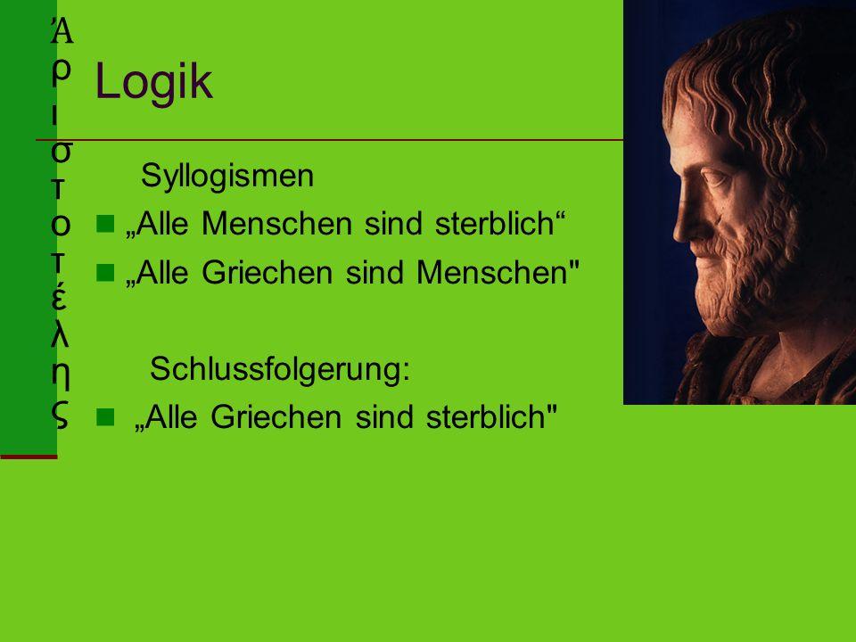 """Logik Syllogismen """"Alle Menschen sind sterblich """"Alle Griechen sind Menschen Schlussfolgerung: """"Alle Griechen sind sterblich Ἀ ρ ι σ τ o τ έ λ η ς"""