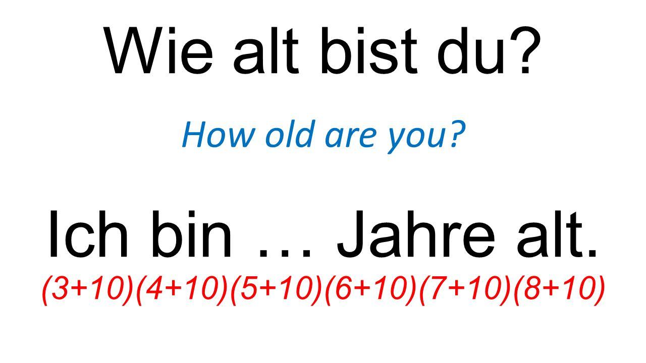 Wie alt bist du? How old are you? Ich bin … Jahre alt. (3+10)(4+10)(5+10)(6+10)(7+10)(8+10)