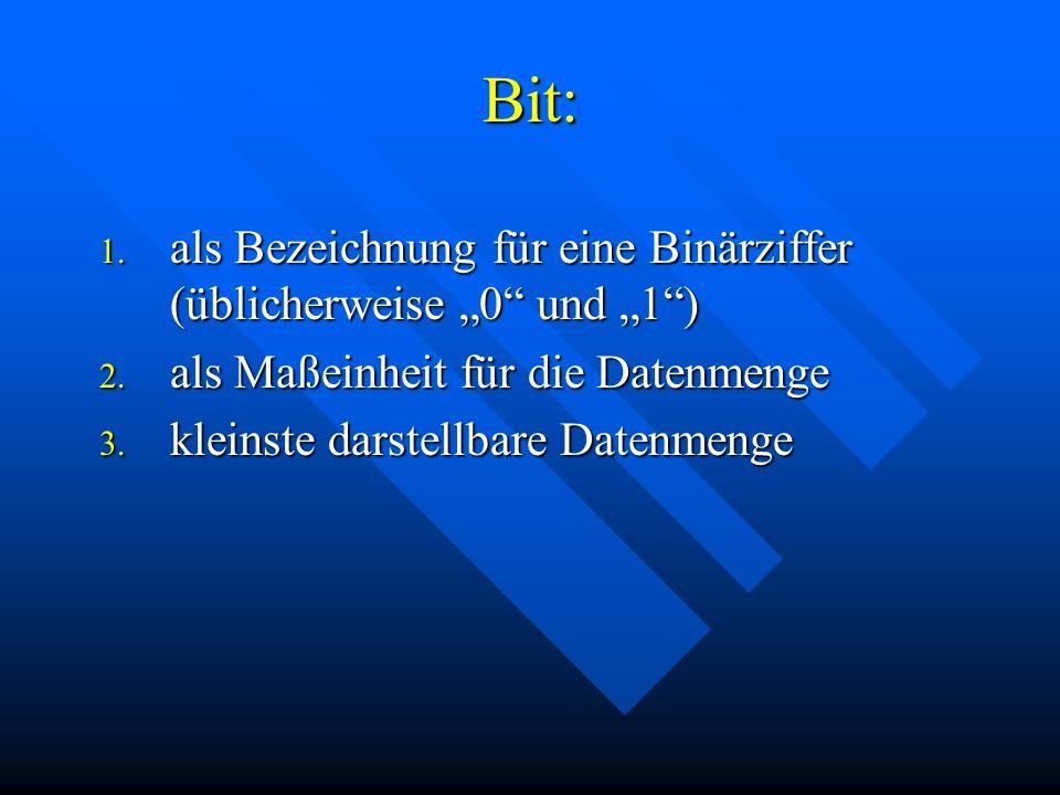 """Bit: 1. als Bezeichnung für eine Binärziffer (üblicherweise """"0 und """"1 ) 2."""