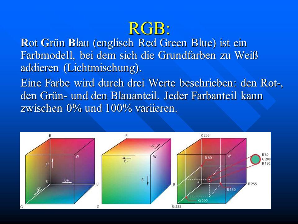 RGB: Rot Grün Blau (englisch Red Green Blue) ist ein Farbmodell, bei dem sich die Grundfarben zu Weiß addieren (Lichtmischung).