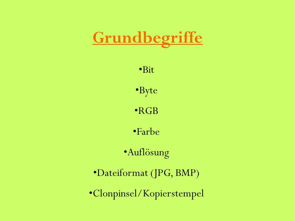 Grundbegriffe Bit Byte RGB Farbe Auflösung Dateiformat (JPG, BMP) Clonpinsel/Kopierstempel