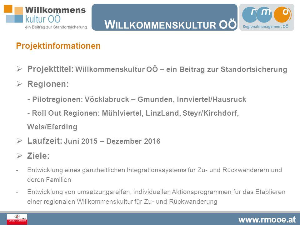 www.rmooe.at W ILLKOMMENSKULTUR OÖ Projektinformationen  Projekttitel: Willkommenskultur OÖ – ein Beitrag zur Standortsicherung  Regionen: - Pilotre