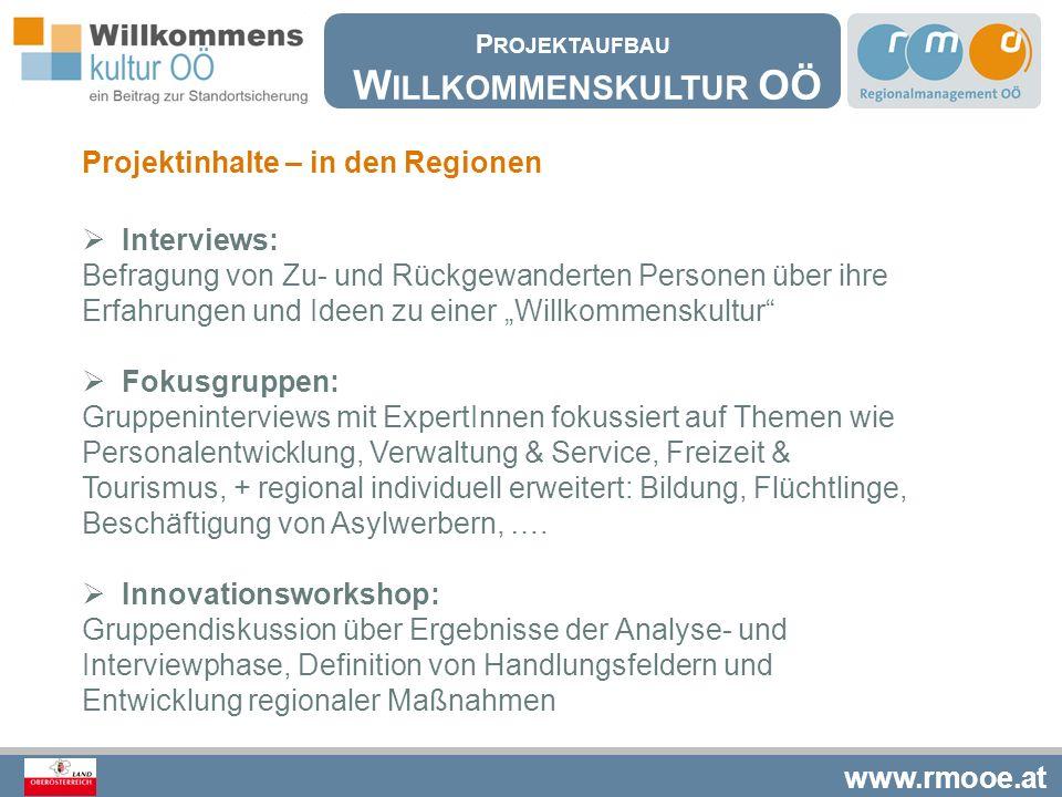 """www.rmooe.at Projektinhalte – in den Regionen  Interviews: Befragung von Zu- und Rückgewanderten Personen über ihre Erfahrungen und Ideen zu einer """"W"""