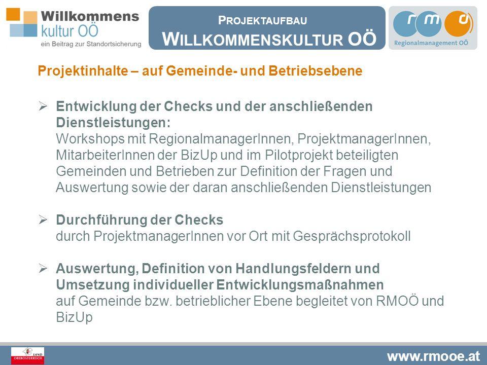 www.rmooe.at Projektinhalte – auf Gemeinde- und Betriebsebene  Entwicklung der Checks und der anschließenden Dienstleistungen: Workshops mit Regional