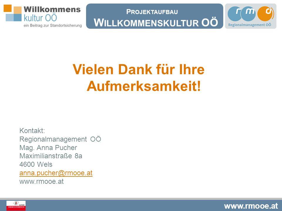 www.rmooe.at Vielen Dank für Ihre Aufmerksamkeit! Kontakt: Regionalmanagement OÖ Mag. Anna Pucher Maximilianstraße 8a 4600 Wels anna.pucher@rmooe.at w