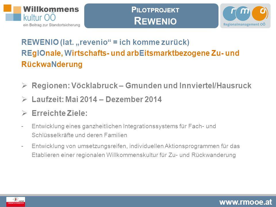 """www.rmooe.at REWENIO (lat. """"revenio"""" = ich komme zurück) REgIOnale, Wirtschafts- und arbEitsmarktbezogene Zu- und RückwaNderung  Regionen: Vöcklabruc"""