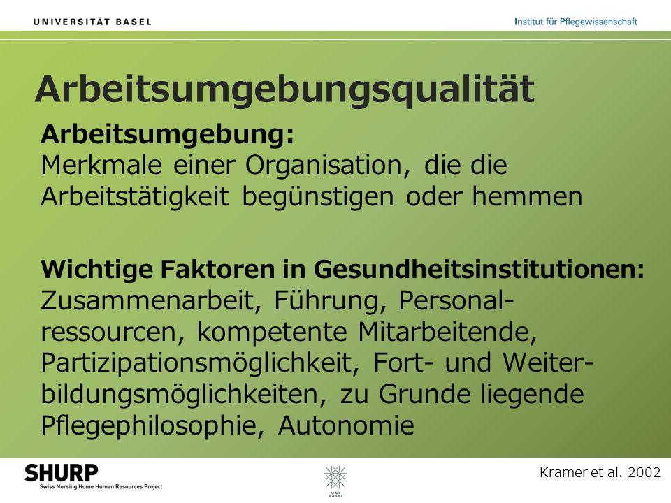 Arbeitsumgebungsqualität Arbeitsumgebung: Merkmale einer Organisation, die die Arbeitstätigkeit begünstigen oder hemmen Wichtige Faktoren in Gesundhei