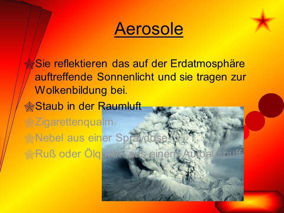 Aerosole  Sie reflektieren das auf der Erdatmosphäre auftreffende Sonnenlicht und sie tragen zur Wolkenbildung bei.