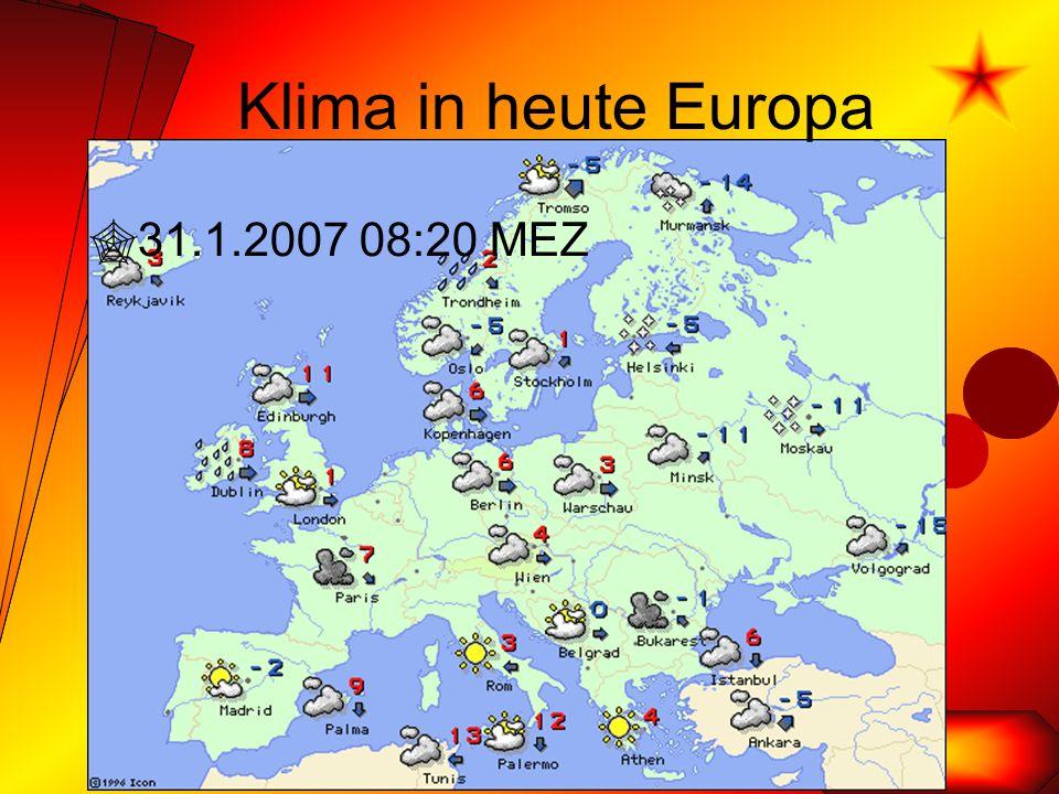 Klima in heute Europa  31.1.2007 08:20 MEZ