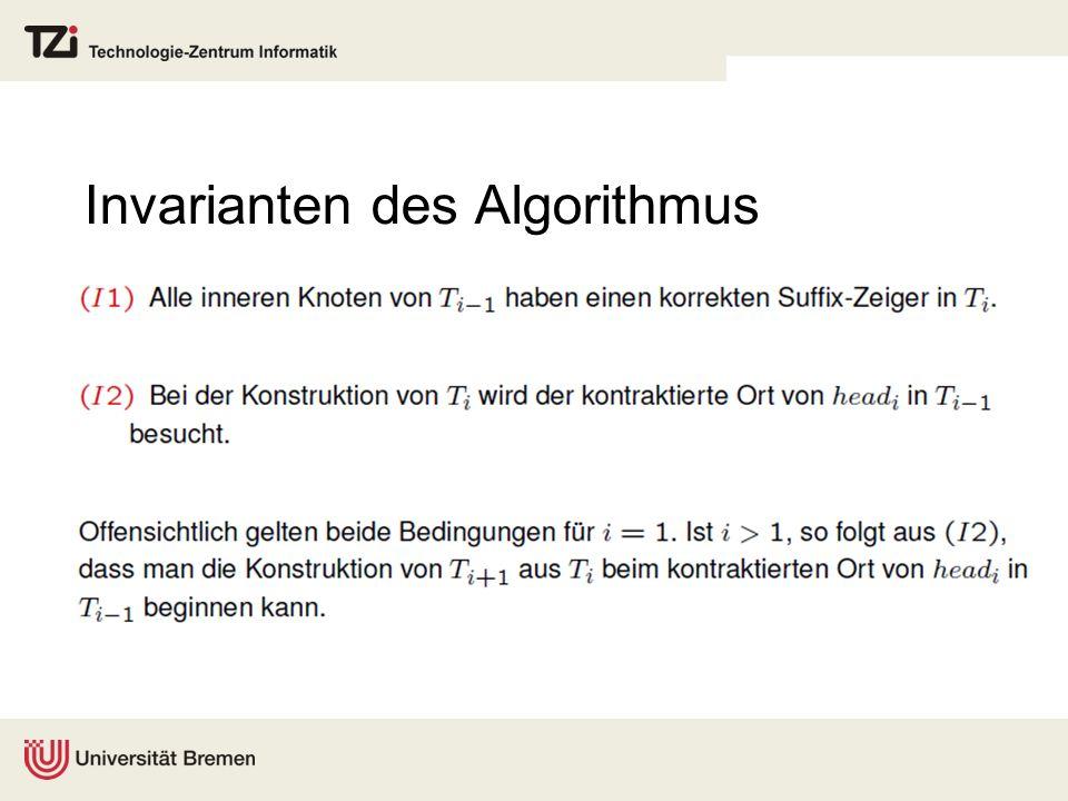 Invarianten des Algorithmus