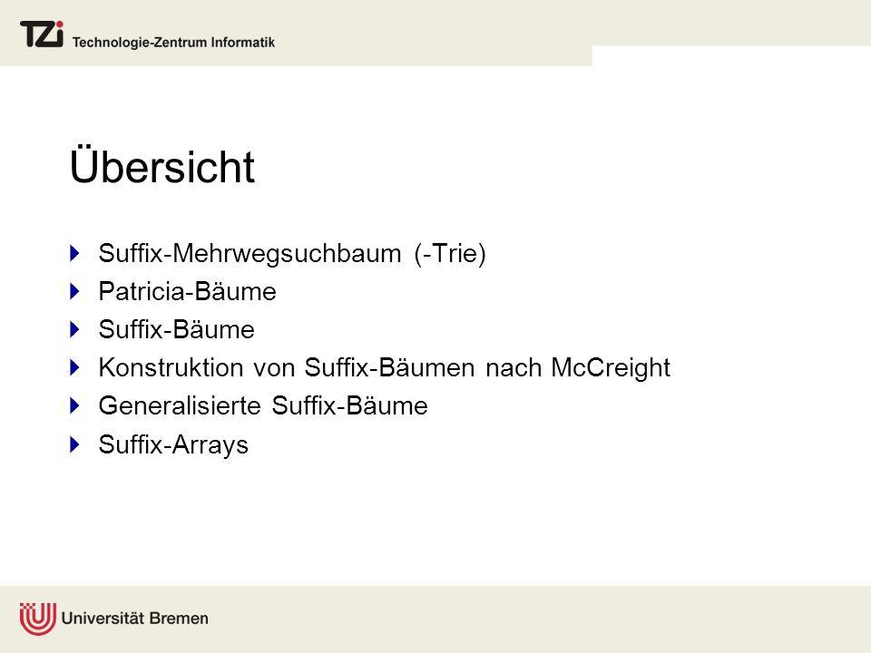 Übersicht  Suffix-Mehrwegsuchbaum (-Trie)  Patricia-Bäume  Suffix-Bäume  Konstruktion von Suffix-Bäumen nach McCreight  Generalisierte Suffix-Bäume  Suffix-Arrays