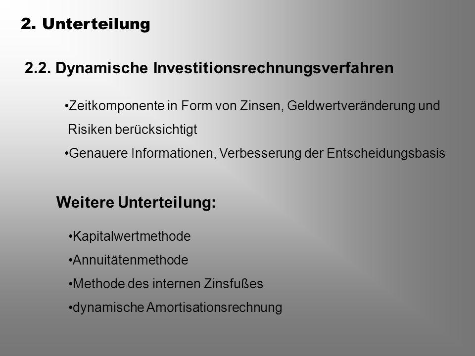 2.2. Dynamische Investitionsrechnungsverfahren Zeitkomponente in Form von Zinsen, Geldwertveränderung und Risiken berücksichtigt Genauere Informatione