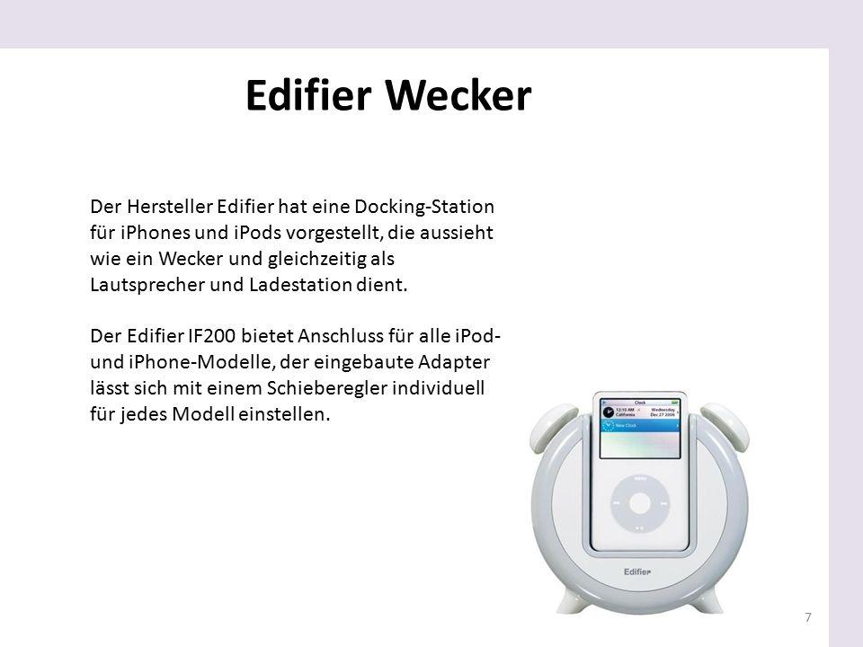 7 Der Hersteller Edifier hat eine Docking-Station für iPhones und iPods vorgestellt, die aussieht wie ein Wecker und gleichzeitig als Lautsprecher und