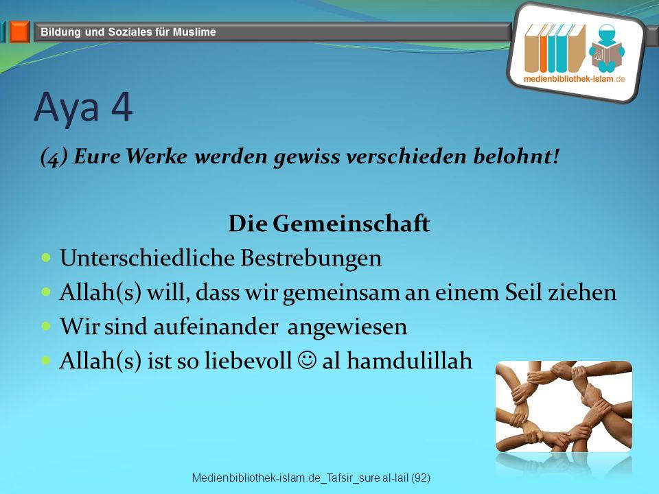 Aya 4 (4) Eure Werke werden gewiss verschieden belohnt! Die Gemeinschaft Unterschiedliche Bestrebungen Allah(s) will, dass wir gemeinsam an einem Seil