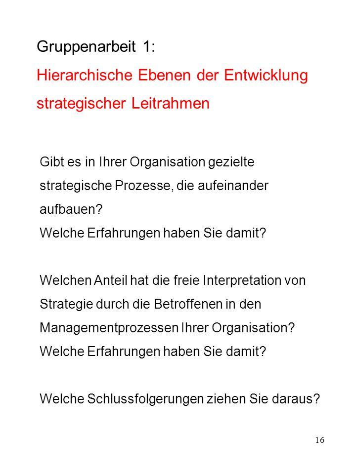 16 Gruppenarbeit 1: Hierarchische Ebenen der Entwicklung strategischer Leitrahmen Gibt es in Ihrer Organisation gezielte strategische Prozesse, die au