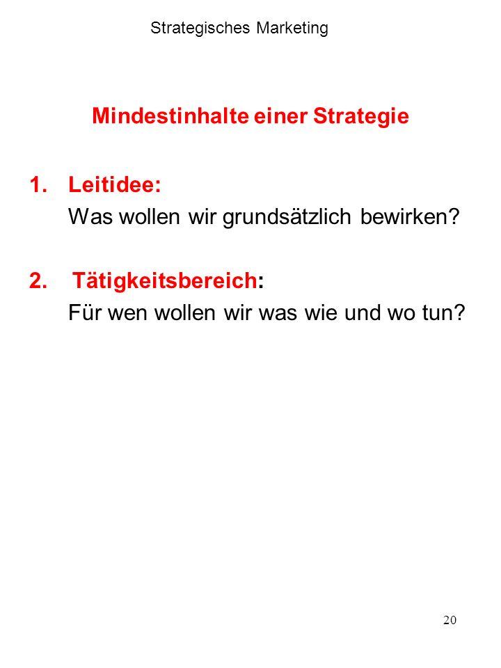 20 Mindestinhalte einer Strategie 1.Leitidee: Was wollen wir grundsätzlich bewirken? 2. Tätigkeitsbereich: Für wen wollen wir was wie und wo tun? Stra