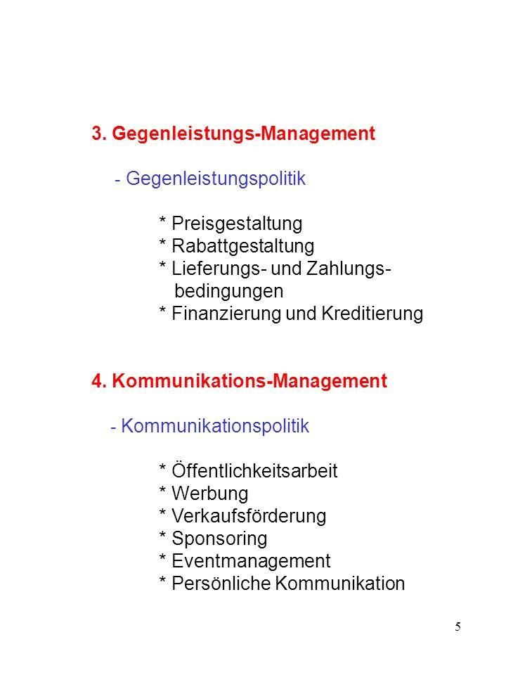 5 3. Gegenleistungs-Management - Gegenleistungspolitik * Preisgestaltung * Rabattgestaltung * Lieferungs- und Zahlungs- bedingungen * Finanzierung und