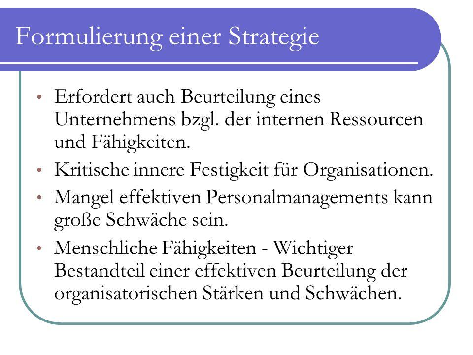 Formulierung einer Strategie Erfordert auch Beurteilung eines Unternehmens bzgl. der internen Ressourcen und Fähigkeiten. Kritische innere Festigkeit
