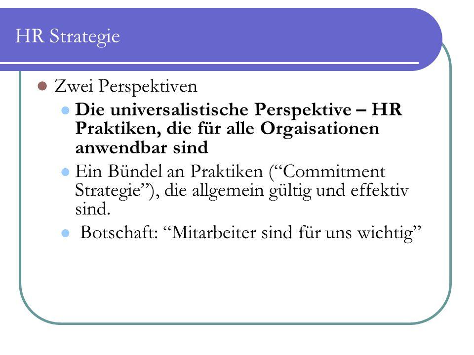 HR Strategie Zwei Perspektiven Die universalistische Perspektive – HR Praktiken, die für alle Orgaisationen anwendbar sind Ein Bündel an Praktiken ( Commitment Strategie ), die allgemein gültig und effektiv sind.
