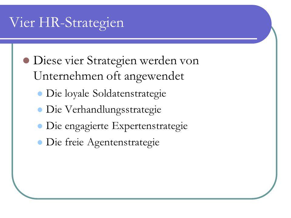 Vier HR-Strategien Diese vier Strategien werden von Unternehmen oft angewendet Die loyale Soldatenstrategie Die Verhandlungsstrategie Die engagierte Expertenstrategie Die freie Agentenstrategie