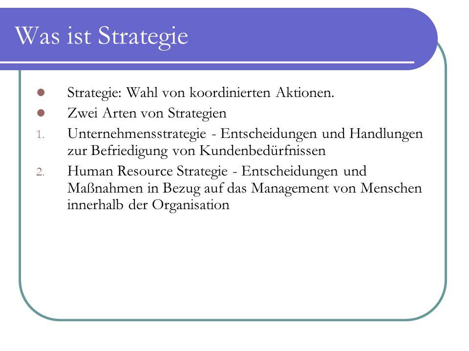 Was ist Strategie Strategie: Wahl von koordinierten Aktionen. Zwei Arten von Strategien 1. Unternehmensstrategie - Entscheidungen und Handlungen zur B
