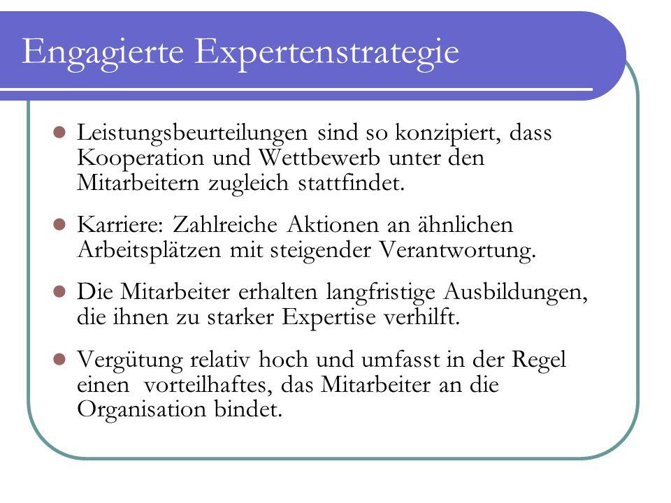 Engagierte Expertenstrategie Leistungsbeurteilungen sind so konzipiert, dass Kooperation und Wettbewerb unter den Mitarbeitern zugleich stattfindet. K