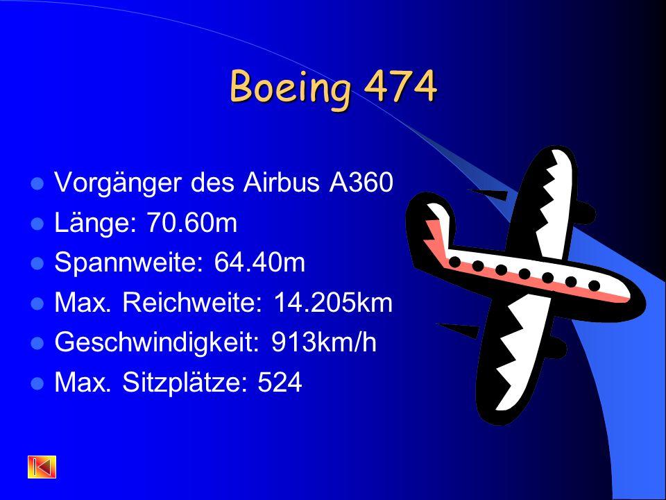 Gründe für den Bau des Airbus A380 Die Erhöhung der Passagieranzahl Die Senkung der Betriebskosten pro Person Durch weiterentwickelte Werkstoffe wie z.B.