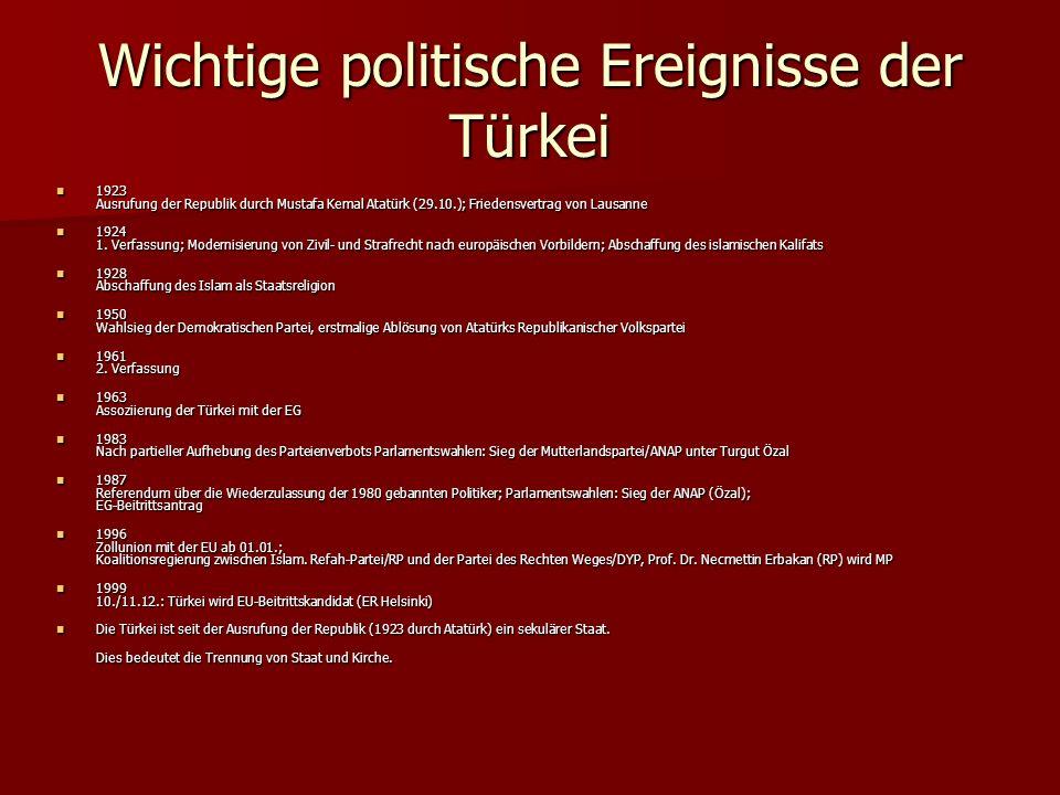 Wichtige politische Ereignisse der Türkei 1923 Ausrufung der Republik durch Mustafa Kemal Atatürk (29.10.); Friedensvertrag von Lausanne 1923 Ausrufun