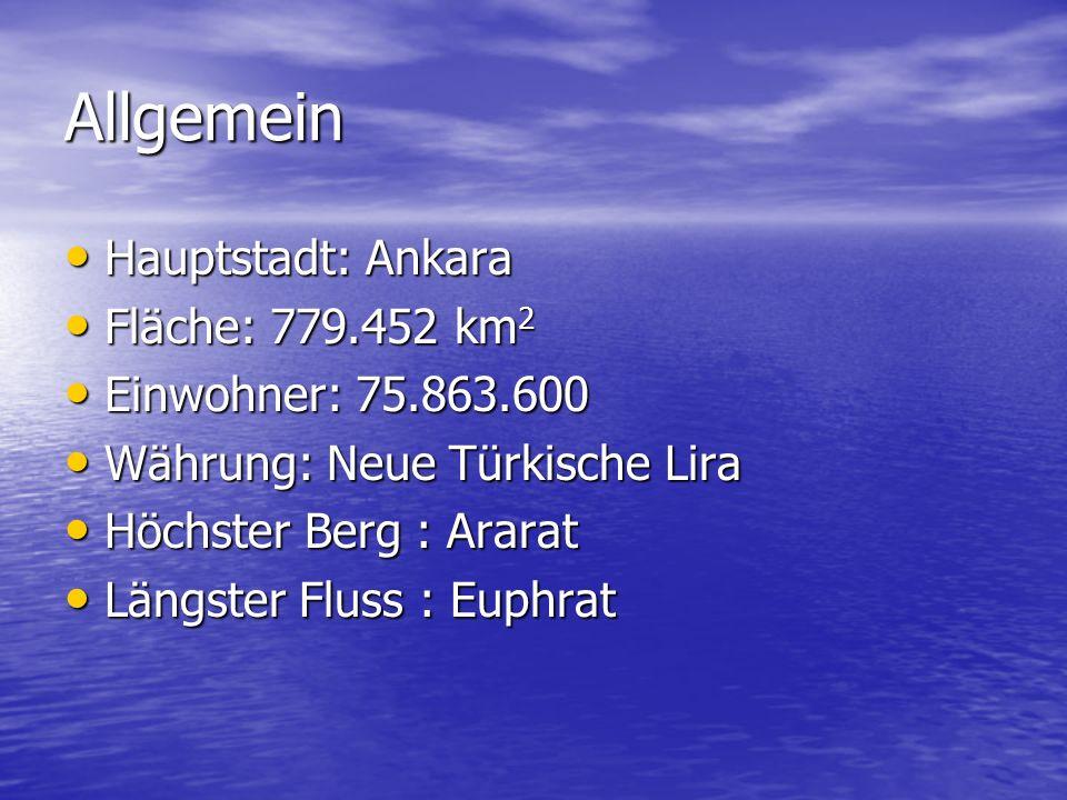 Allgemein Hauptstadt: Ankara Hauptstadt: Ankara Fläche: 779.452 km 2 Fläche: 779.452 km 2 Einwohner: 75.863.600 Einwohner: 75.863.600 Währung: Neue Tü
