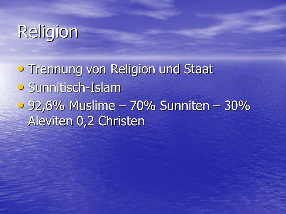 Religion Trennung von Religion und Staat Trennung von Religion und Staat Sunnitisch-Islam Sunnitisch-Islam 92,6% Muslime – 70% Sunniten – 30% Aleviten