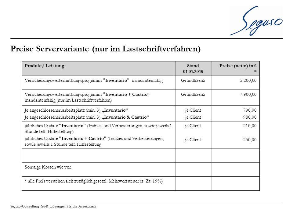 Seguro-Consulting GbR Lösungen für die Assekuranz Preise Servervariante (nur im Lastschriftverfahren) Produkt/ LeistungStand 01.01.2015 Preise (netto)