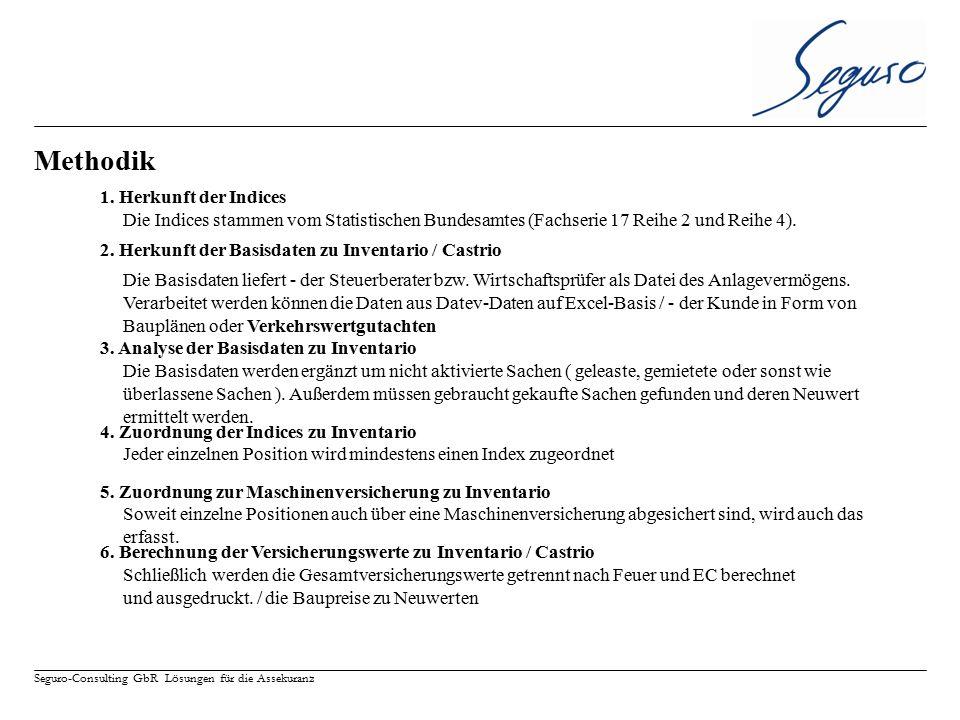Seguro-Consulting GbR Lösungen für die Assekuranz Methodik 1. Herkunft der Indices Die Basisdaten liefert - der Steuerberater bzw. Wirtschaftsprüfer a