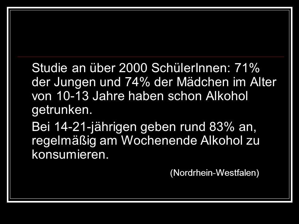 Studie an über 2000 SchülerInnen: 71% der Jungen und 74% der Mädchen im Alter von 10-13 Jahre haben schon Alkohol getrunken. Bei 14-21-jährigen geben