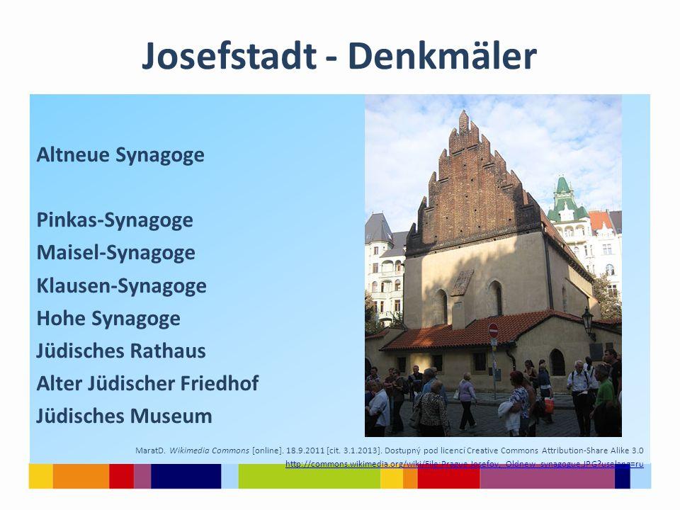 Josefstadt - Denkmäler Altneue Synagoge Pinkas-Synagoge Maisel-Synagoge Klausen-Synagoge Hohe Synagoge Jüdisches Rathaus Alter Jüdischer Friedhof Jüdi