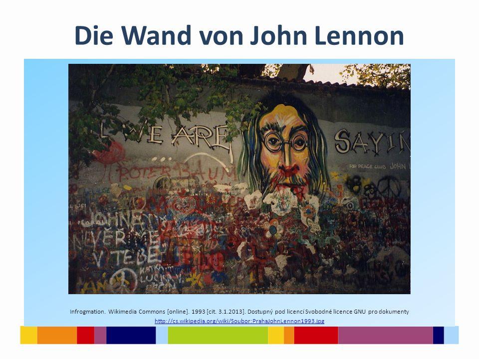 Die Wand von John Lennon Infrogmation. Wikimedia Commons [online]. 1993 [cit. 3.1.2013]. Dostupný pod licencí Svobodné licence GNU pro dokumenty http:
